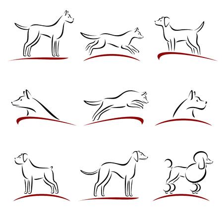 lijntekening: Honden stellen. Stock Illustratie