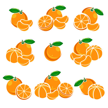 mandarin: Mandarin set. Color juicy juice jam natural