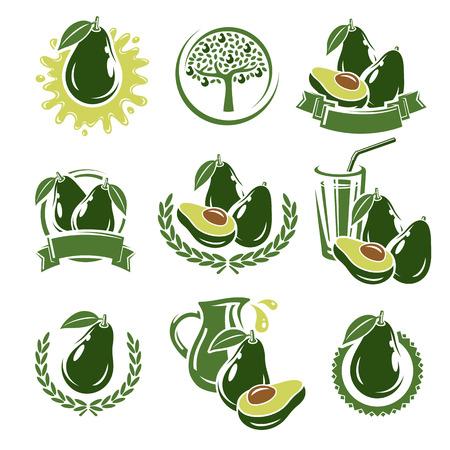 summer diet: Avocado labels and elements set. Vector illustration