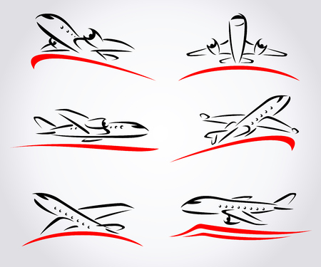 Airplane abstract set. Vector illustration