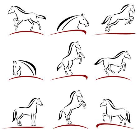 Collection paard set, te bewerken grootte en kleur, vector