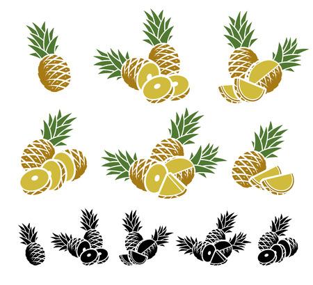 half: Pineapple set. Vector illustration leaf sweet organic tropical Illustration