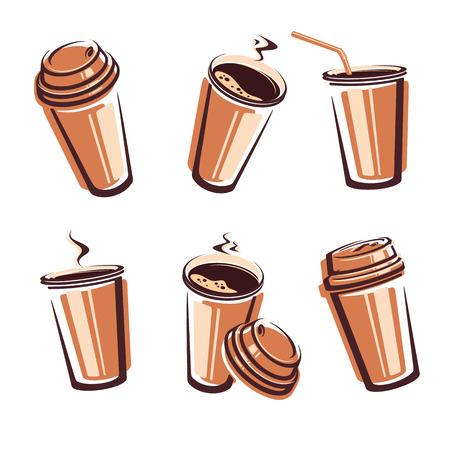takeaway: Coffee cup set. illustration Illustration