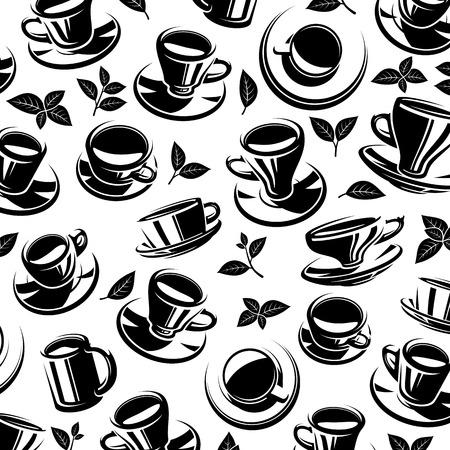 chinese tea pot: Tea background. Vector illustration pattern
