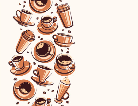 background coffee: Coffee background. Vector illustration pattern Illustration