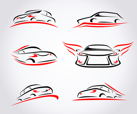front view: Cars abstract set. Vector illustration