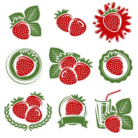 Ensemble de fraises. Vecteur