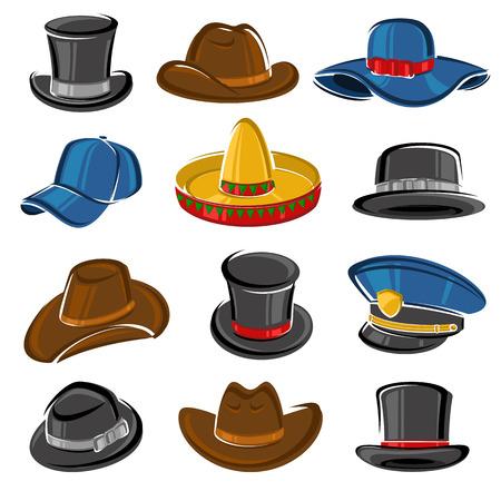 sombrero: Colección conjunto sombreros. Vector