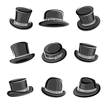 top hat: Black top hat set. Vector