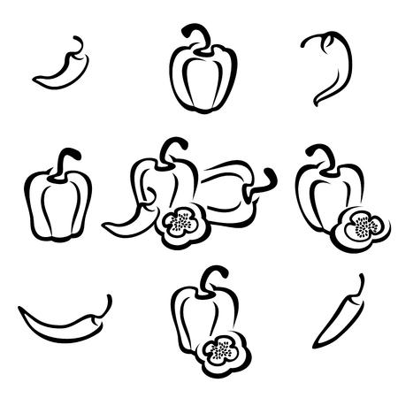 pepe nero: Chili e pepe Vettoriali