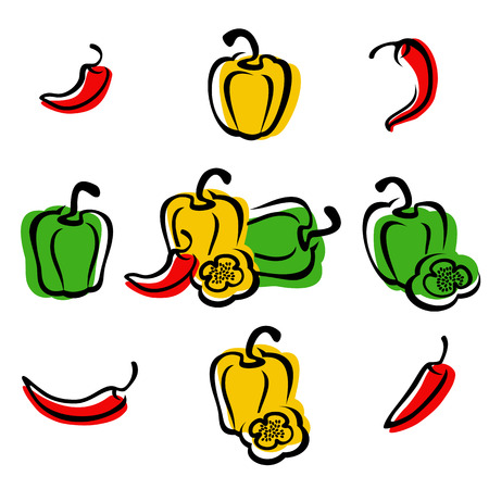 chilies: Chili and pepper set