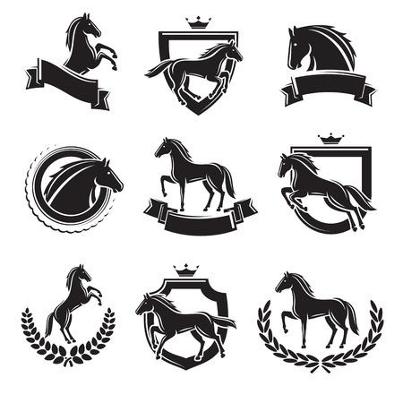mane: Horse labels and elements set. Vector