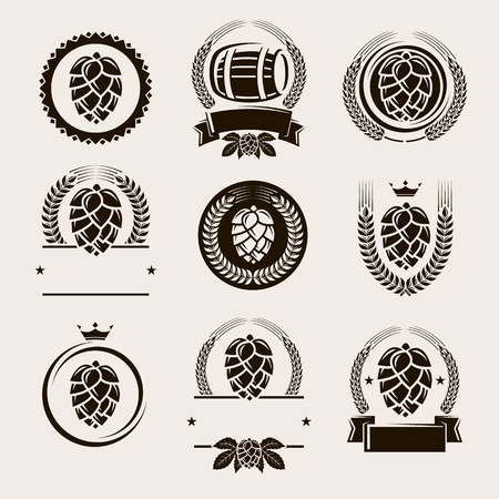 Hop labels and elements set. Vector