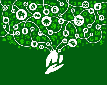 ecology background: Ecology background of the icons vector Illustration