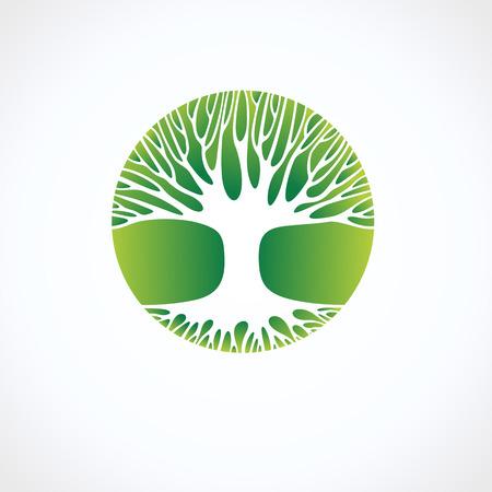 Baum-Symbol und Label. Vektor