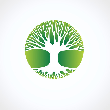 roble arbol: Tree icon and label. Vector Vectores