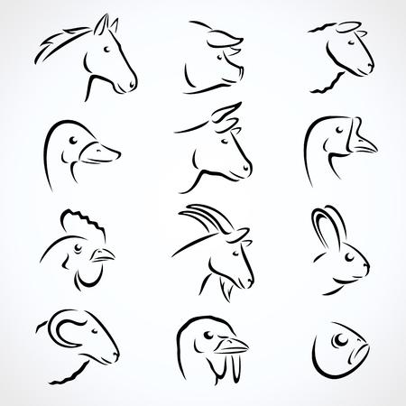 zestaw zwierząt gospodarskich. Wektor Ilustracje wektorowe