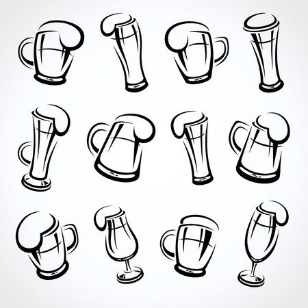 lager beer: Beer set. Vector Illustration