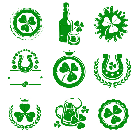 celtic: Leaf clover labels and elements set. Vector Illustration