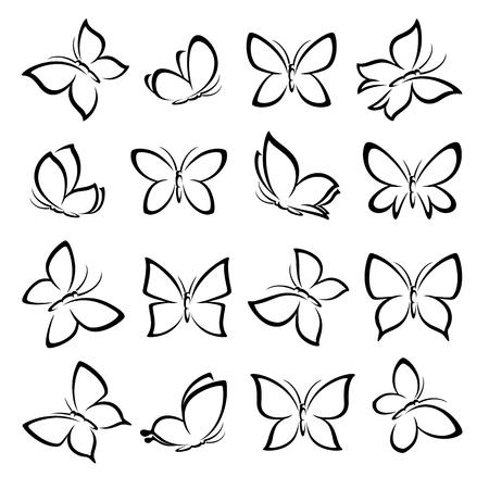 Butterflies set. vector illustration.