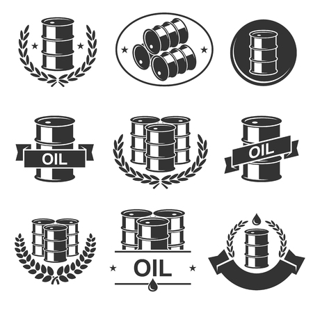 oil and gas industry: Oil barrel label collection set. Vector