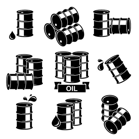 oil and gas industry: Oil barrel set. Vector