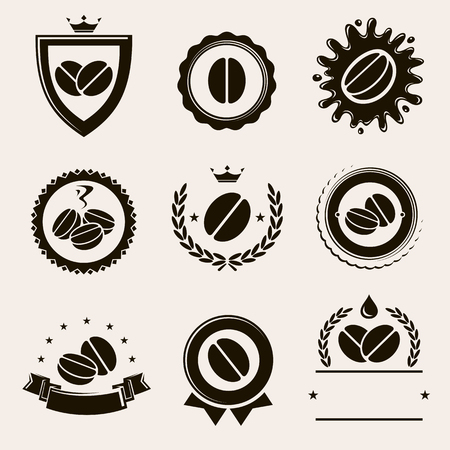 Coffee labels and icons vector set.