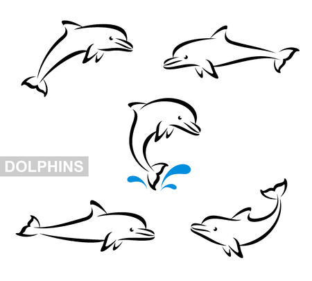 Dolphins set. Vector