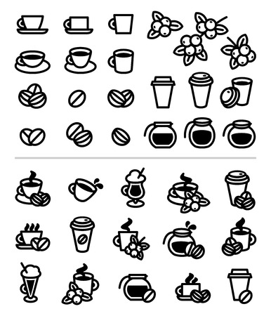 Coffee labels and icons set. Vector Ilustração