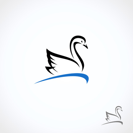 Swan set. Collection label and icons. Vector  イラスト・ベクター素材