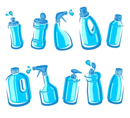 Ensemble de bouteilles de détergent. Étiquette de collection et icônes. Vecteur