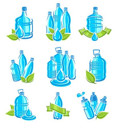 Botellas de agua etiquetas y conjunto de elementos. Colección de iconos de agua. Vector