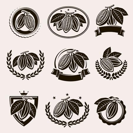 Cacao beans label and icons set. Vector Ilustração