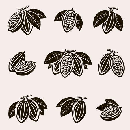 Cacao beans set. Vector Vetores