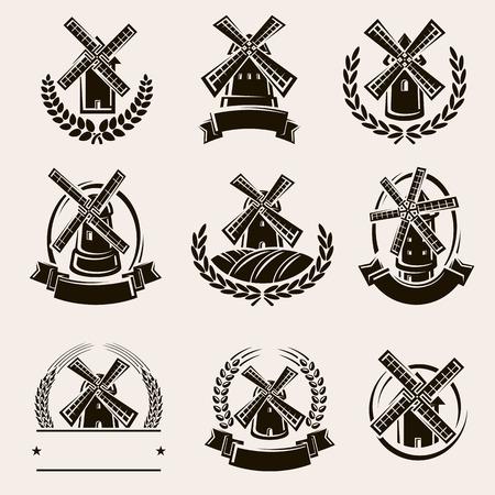 Set di etichette e icone del mulino. Vettore
