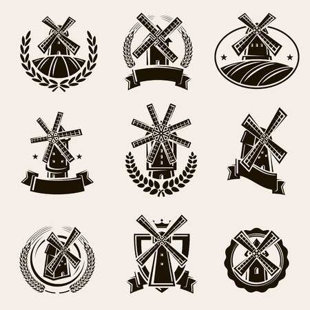 Mill label and icons set. Vector