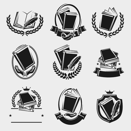 Books label and icons set. Vector illustration