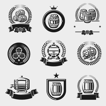 Barrels label collection set. Vector Illustration