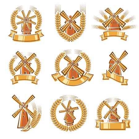 Etichetta del mulino e set di icone. Illustrazione vettoriale