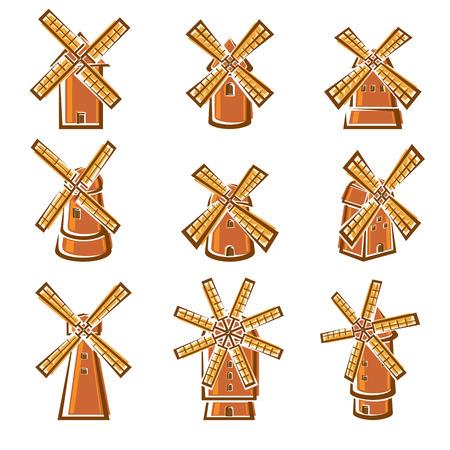 Mill set. Vector illustration nature bread