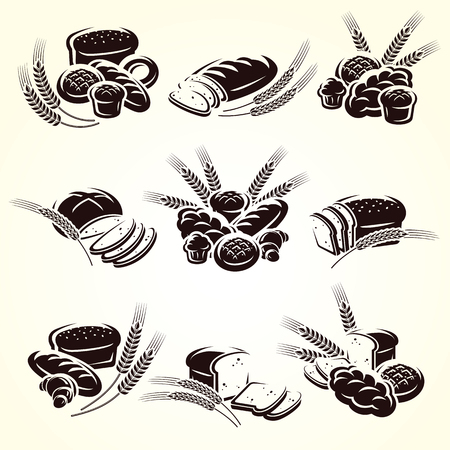 Bread set. Vector illustration symbol food icon
