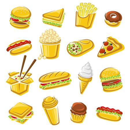 Fast food set. Vector