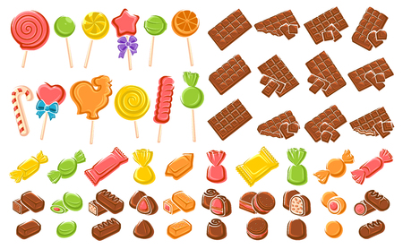 Candies, chocolate, lollipop set. Elements and icons collection. Vector