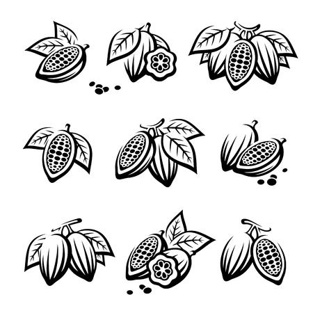Cacao beans set. Vector Векторная Иллюстрация