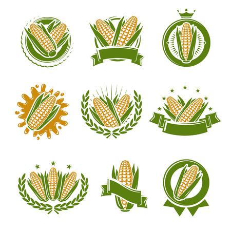 Mais eingestellt. Sammlung Symbol Mais. Vektor Vektorgrafik