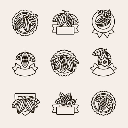 Cacao beans label and icons set. Vector Illusztráció