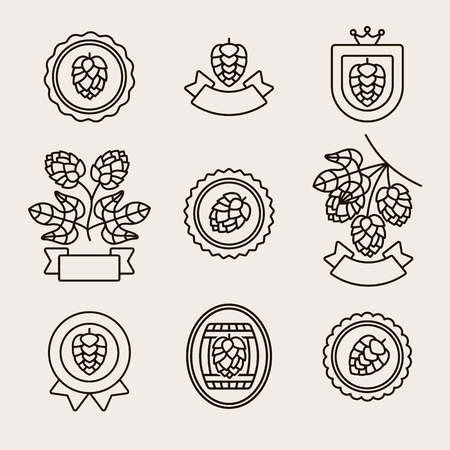 Hop labels and elements set. Collection icon hops. Vector Vector Illustration