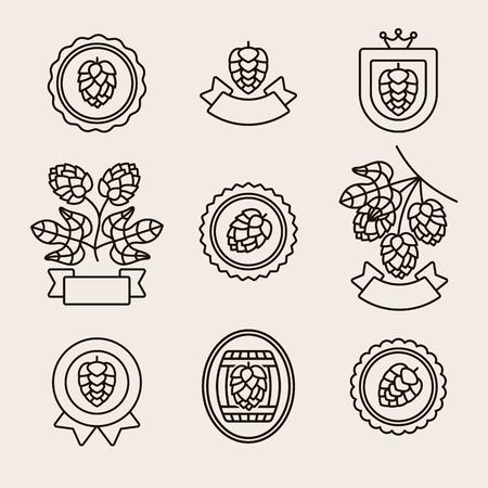 Set di etichette ed elementi di luppolo. Luppoli icona raccolta. Vettore Vettoriali