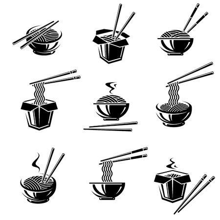 Noodle set. Collection icon noodles. Vector