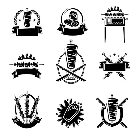 Kebab labels and elements set. Collection icon kebabs. Vector